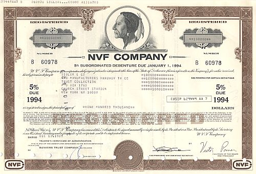 NVF Company historic stocks - old certificates