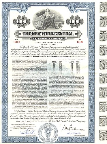 New York Central Railroad Company historic stocks - old certificates