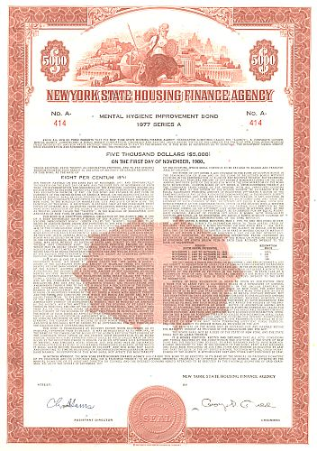 New York State Housing Finance Agency (Mental Hygiene Improvement Bond) historic stocks - old certificates