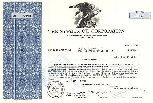 Nyvatex Oil Corporation historic stocks - old certificates