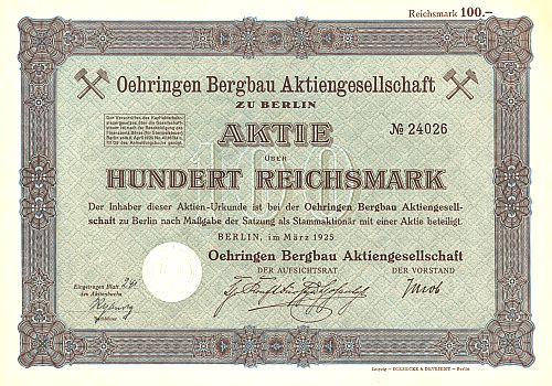 Oehringen Bergbau Aktiengesellschaft historic stocks - old certificates