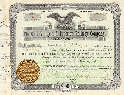 Ohio Valley and Junction Railway Company historische Wertpapiere - alte Aktien