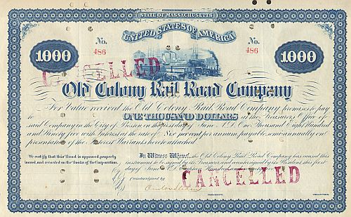 Old Colony Railroad Company (Autograph Onslow Stearns) historic stocks - old certificates