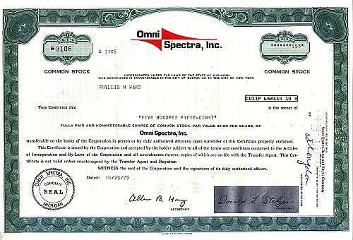 Omni Spectra Inc. historic stocks - old certificates