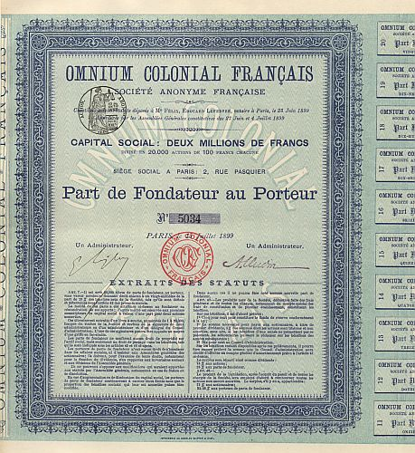 Omnium Colonial Français historic stocks - old certificates