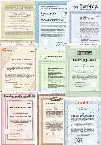 10 verschiedene Optionsscheine historic stocks - old certificates