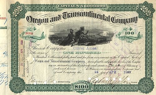 Oregon and Transcontinental Company (Autograph Ames und Dillon) historic stocks - old certificates