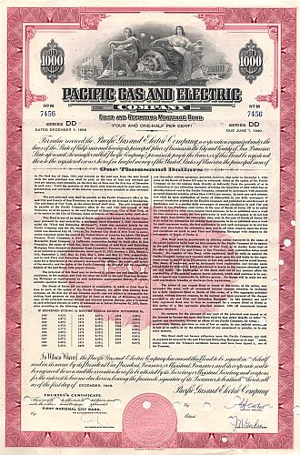 Pacific Gas and Electric Company historic stocks - old certificates
