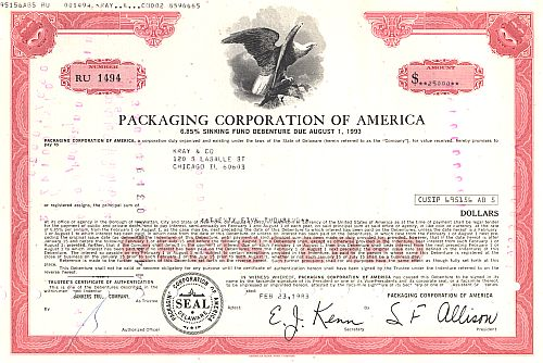 Packing Corporation of America historische Wertpapiere - alte Aktien