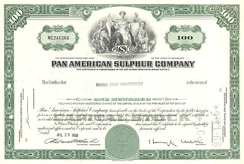 Pan American Sulphur Company historic stocks - old certificates
