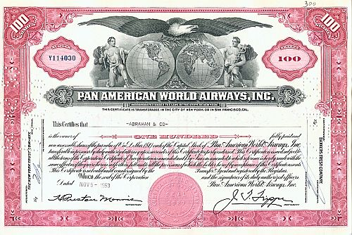Pan Am World Airways, Inc. (PAN AM) historische Wertpapiere - alte Aktien