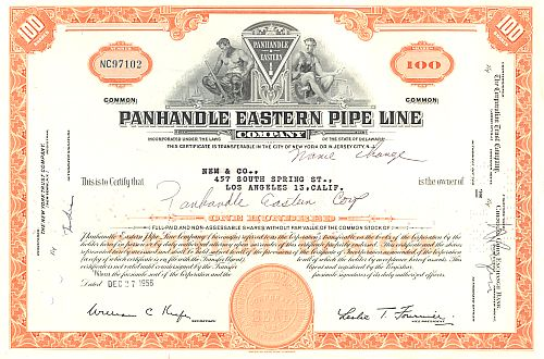 Panhandle Eastern Pipe Line historic stocks - old certificates
