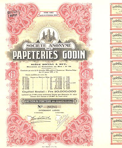 Papeteries Godin historic stocks - old certificates