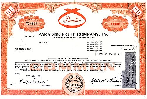 Paradise Fruit Company Inc. historic stocks - old certificates