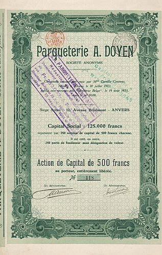 Parqueterie A. Doyen historic stocks - old certificates