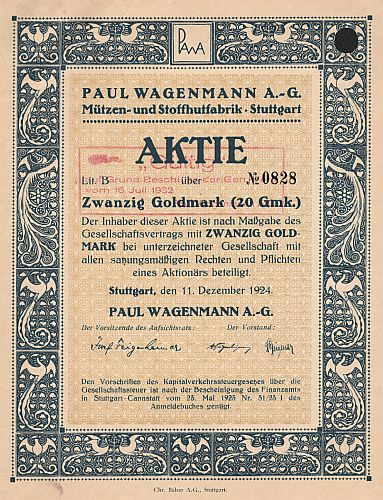 Paul Wagenmann A.-G. (1924) historic stocks - old certificates
