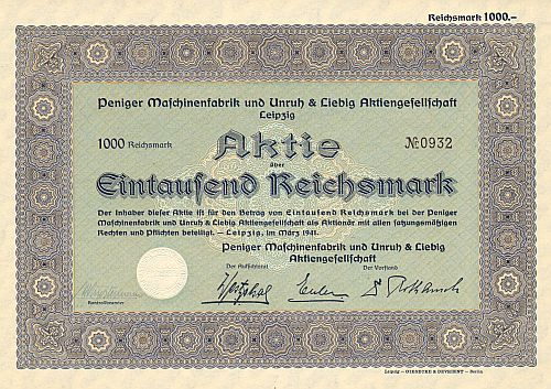 Peniger Maschinenfabrik und Unruh & Liebig AG (1941) -  historic stocks - old certificates Engineering