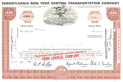 Pennsylvania New York Central Transportation Company historic stocks - old certificates