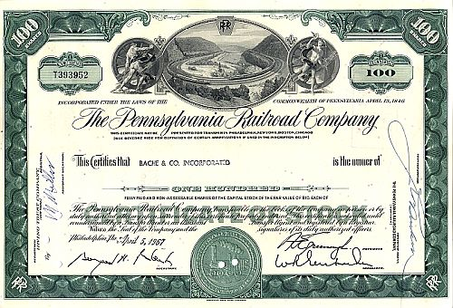 Pennsylvania Railroad Company historic stocks - old certificates