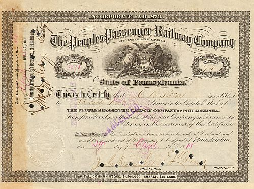 People's Passenger Railway Company of Philadelphia  historic stocks - old certificates