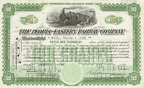 Peoria and Eastern Railway Company historic stocks - old certificates