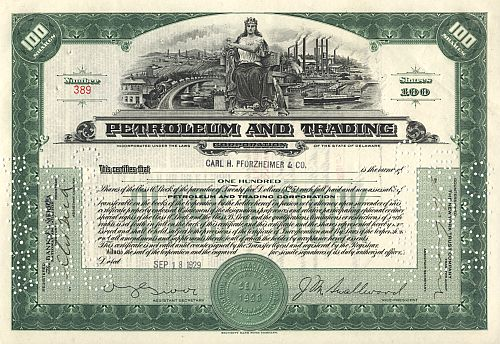 Petroleum and Trading Corporation historic stocks - old certificates