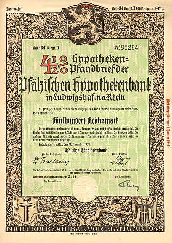 Pfälzische Hypothekenbank  historic stocks - old certificates