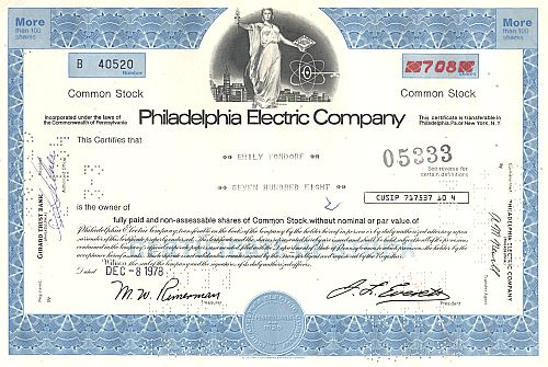 Philadelphia Electric Company historic stocks - old certificates