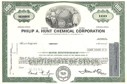 Philip A. Hunt Chemical Corporation historische Wertpapiere - alte Aktien