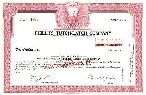 Phillips Tutch-Latch Company historic stocks - old certificates