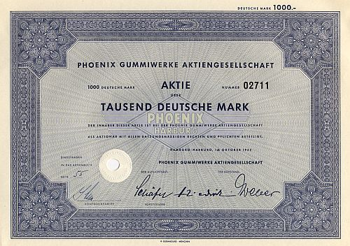 Phoenix Gummiwerke Aktiengesellschaft (1952) historic stocks - old certificates
