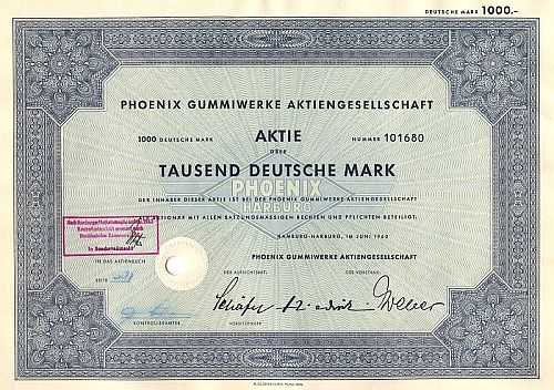 Phoenix Gummiwerke Aktiengesellschaft historic stocks - old certificates