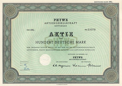 PHYWE Aktiengesellschaft historic stocks - old certificates