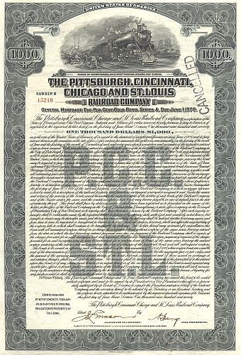 Pittsburgh, Cincinnati, Chicago and St.Louis Railway Company historic stocks - old certificates