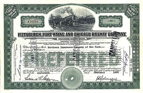 Pittsburgh, Fort Wayne and Chicago Railway historische Wertpapiere - alte Aktien