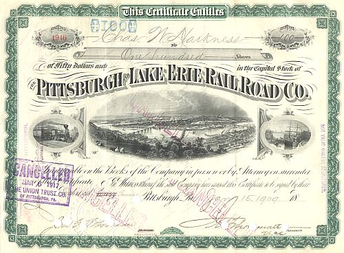 Pittsburgh and Lake Erie Railroad Company historische Wertpapiere - alte Aktien