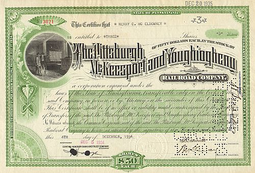 Pittsburgh, Mc Keesport and Youghiogheny Railroad Company historische Wertpapiere - alte Aktien