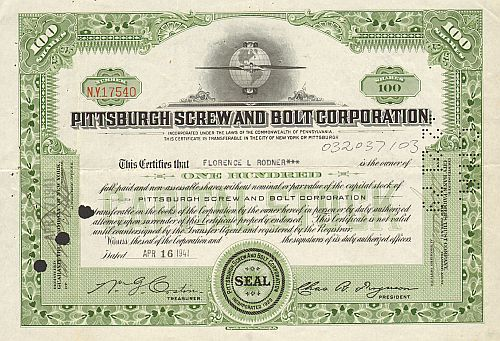 Pittsburgh Screw and Bolt Corporation historische Wertpapiere - alte Aktien