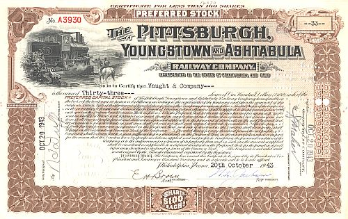 Pittsburgh, Youngstown and Ashtabula Railway Company historic stocks - old certificates
