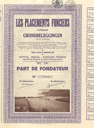 Les Placements Fonciers en flamand Grondbeleggingen historic stocks - old certificates