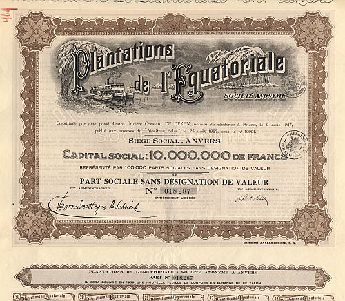 Plantations de l' Equatoriale  historic stocks - old certificates