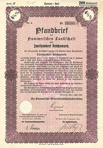Pommersche Landschaft historic stocks - old certificates