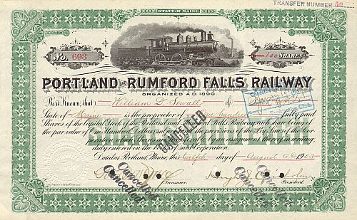 Portland and Rumford Falls Railway (Autograph Hugh Josef Chisholm) historic stocks - old certificates