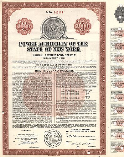 Power Authority of the State  of New York historische Wertpapiere - alte Aktien