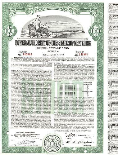 Power Authority of the State  of New York historic stocks - old certificates