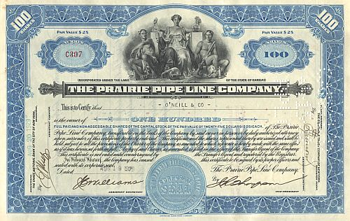 Prairie Pipe Line Company historic stocks - old certificates