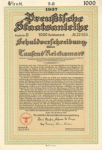 Preußische Staatsschuldenverwaltung (Februar 1937) 1000 Mark  historic stocks - old certificates