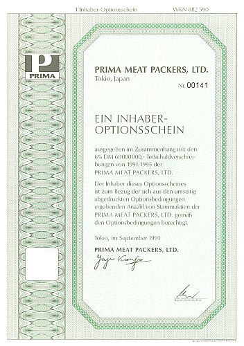 Prima Meat Packers LTD. historic stocks - old certificates