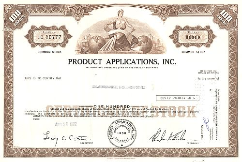 Product Applications Inc. historic stocks - old certificates