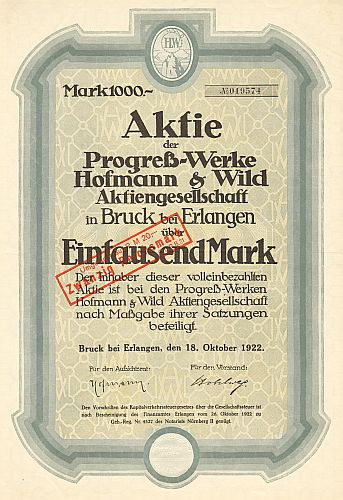 Progreß-Werke Hofmann & Wild AG historic stocks - old certificates